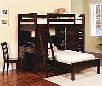 """Двухьяросная кровать """" Сабре """" из натурального дерева"""