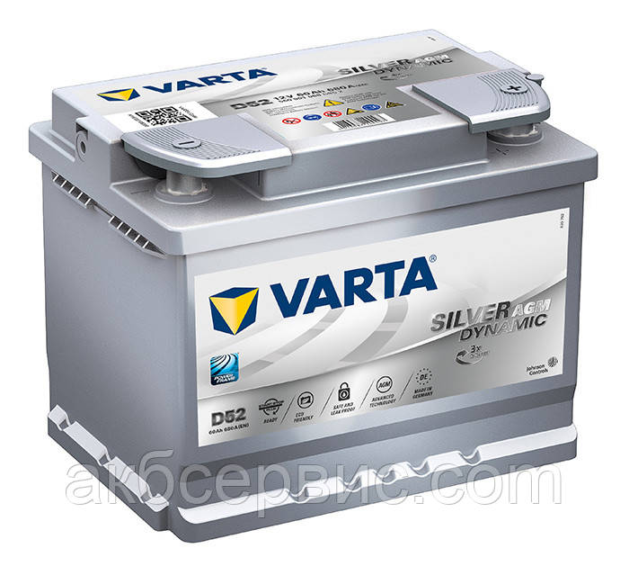 Аккумулятор автомобильный Varta 6СТ-60 Silver Dynamic AGM (D52)