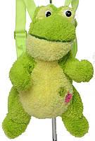 Яркий рюкзак-мягкая игрушка для малышей, жабка зеленая