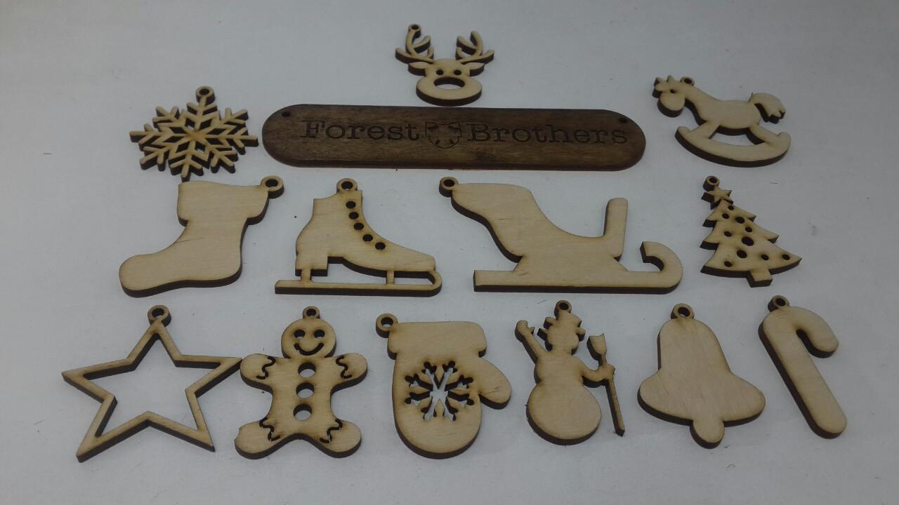 """Новорічні іграшки з  дерева 5 см/новогодние игрушки - Творча майстерня """"Forest Brothers"""" в Киеве"""