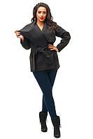 Стильное черное кашемировое пальто батал, с поясом. Арт-8793/74