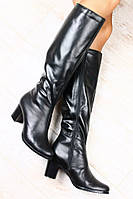 Сапоги кожаные и замшевые черные на устойчивом, небольшом каблуке