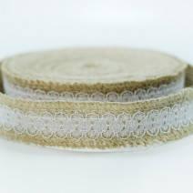 Мешковина с кружевом для декора, диаметр 2,5 см.