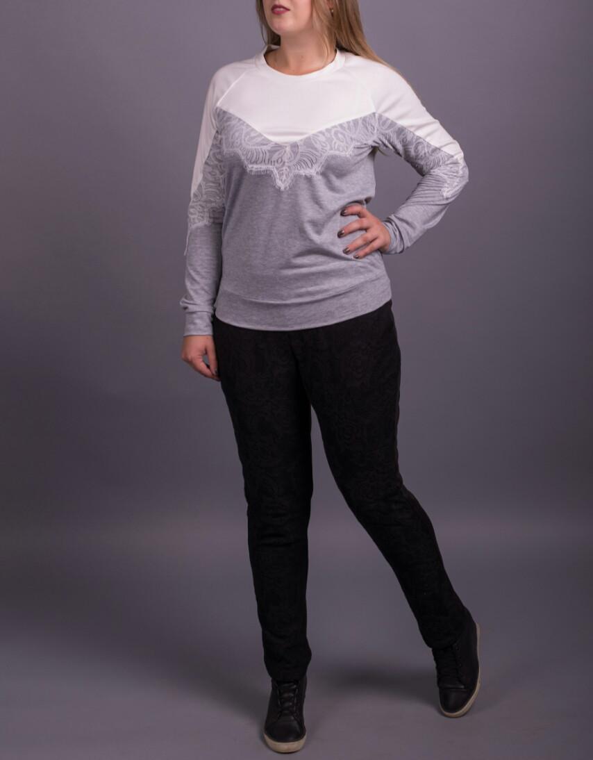 """Модный женский свитшот с кружевом """"Валентайн"""" размеры от 42 по 70"""