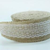 Мешковина с кружевом для декора, диаметр 6 см.