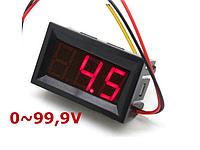 Цифровой вольтметр постоянного тока 0-100В DC Красный автономный, фото 1
