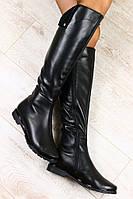 Сапоги черные кожаные евро зима без каблука с отворотом, низкий ход