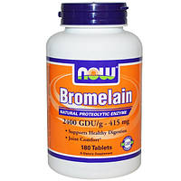 Бромелайн 415 мг 180 таб 2400 GDU противовоспалительные ферменты энзимы от аллергии  астмы Now Foods USA