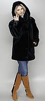 Женская искусственная шуба черный мутон  М-115  44-58 размеры