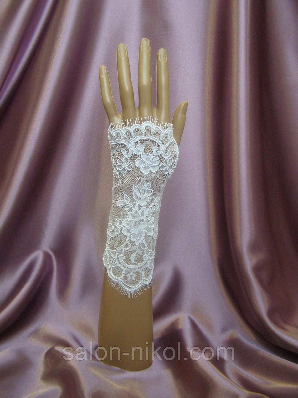 Свадебные перчатки белые