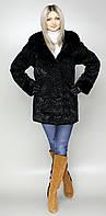 Женская искусственная шуба черный каракуль  М-115  44-58 размеры