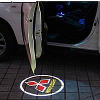 Подсветка дверей автомобиля, проекция логотипа Mitsubishi