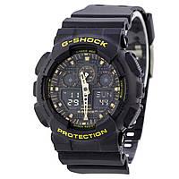 Спортивные наручные часы Casio G-Shock GA-100CF с желтыми надписями - AAA копия, полный комплект, фото 1