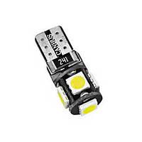 Светодиодная лампа цоколь Т10 (W5W) 5-SMD 5050, Canbus (обманка), 12В
