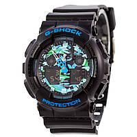 Спортивные наручные часы Casio G-Shock GA-100CB-1AER сине-зеленый циферблат  AAA копия - полный комплект, фото 1