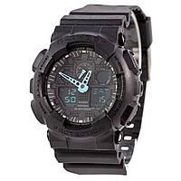 Спортивные наручные часы Casio G-Shock GA-100C-8AER с бирюзовыми стрелками - AAA копия, комплект, фото 1