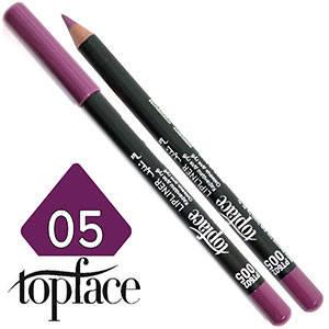 TopFace - Карандаш для губ дерево PT-602 Тон №05 royal violet, матовый, фото 2
