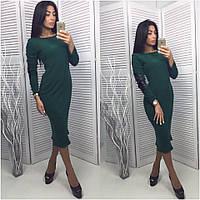 Платье женское с латками темно-зеленое UD11/-1105