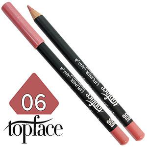 TopFace - Карандаш для губ дерево PT-602 Тон №06 pink nature, матовый