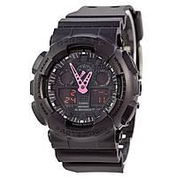 Спортивные наручные часы Casio G-Shock GA-100C с розовыми стрелками -  AAA копия, полный комплект, фото 1