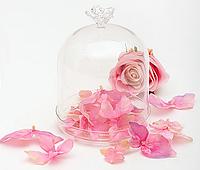 Бонбоньерка стекл. с розой 15*11см