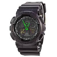 Спортивные наручные часы Casio G-Shock GA-100 с зелеными стрелками - AAA копия, полный комплект, фото 1