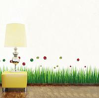 """Наклейка на стену, наклейка трава, наклейки на шкаф """"трава с божьими коровками"""" 1м40см*40см (50*70см лист)"""