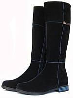 Черные замшевые сапоги, фото 1