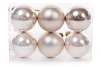 Набор елочных шаров шампань, 6см, 6 шт
