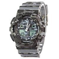 Спортивные наручные часы Casio G-Shock GA-100CM-8AER  хаки в серых тонах - AAA копия, полный комплект