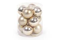 Набор елочных шаров светлое золото, 4см, 12 шт