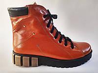Кожаные женские зимние удобные стильные рыжие ботинки на платформе 36