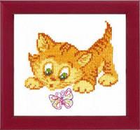 ВТ-026 Набор для вышивания крестом Crystal Art Знакомство с бабочкой