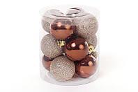 Набор елочных шаров коричнеый, 4см, 12 шт