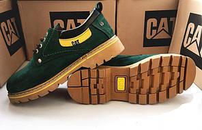 Ботинки мужские Caterpillar CAT низкие зеленые топ реплика, фото 2