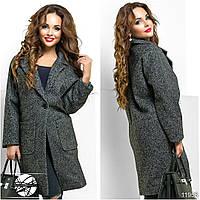 """Стильное пальто """"оверсайз"""" с тонким подкладом без утеплителя. Спереди застегивается на одну большую пуговицу."""