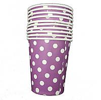 Стаканчики бумажные горохи фиолетовые 10шт.