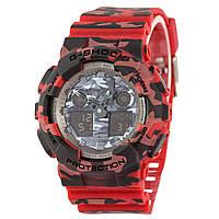 Спортивные наручные часы Casio G-Shock GA-100CM-4AER хаки в красных тонах - AAA копия,полный комплект