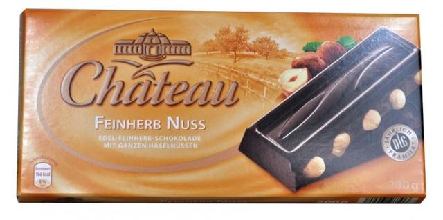 Немецкий шоколад Chateau Feinherb Nuss, черный с цельными лесными орехами 200г.