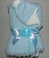 Конверт на выписку с шапочкой зимний (голубой)