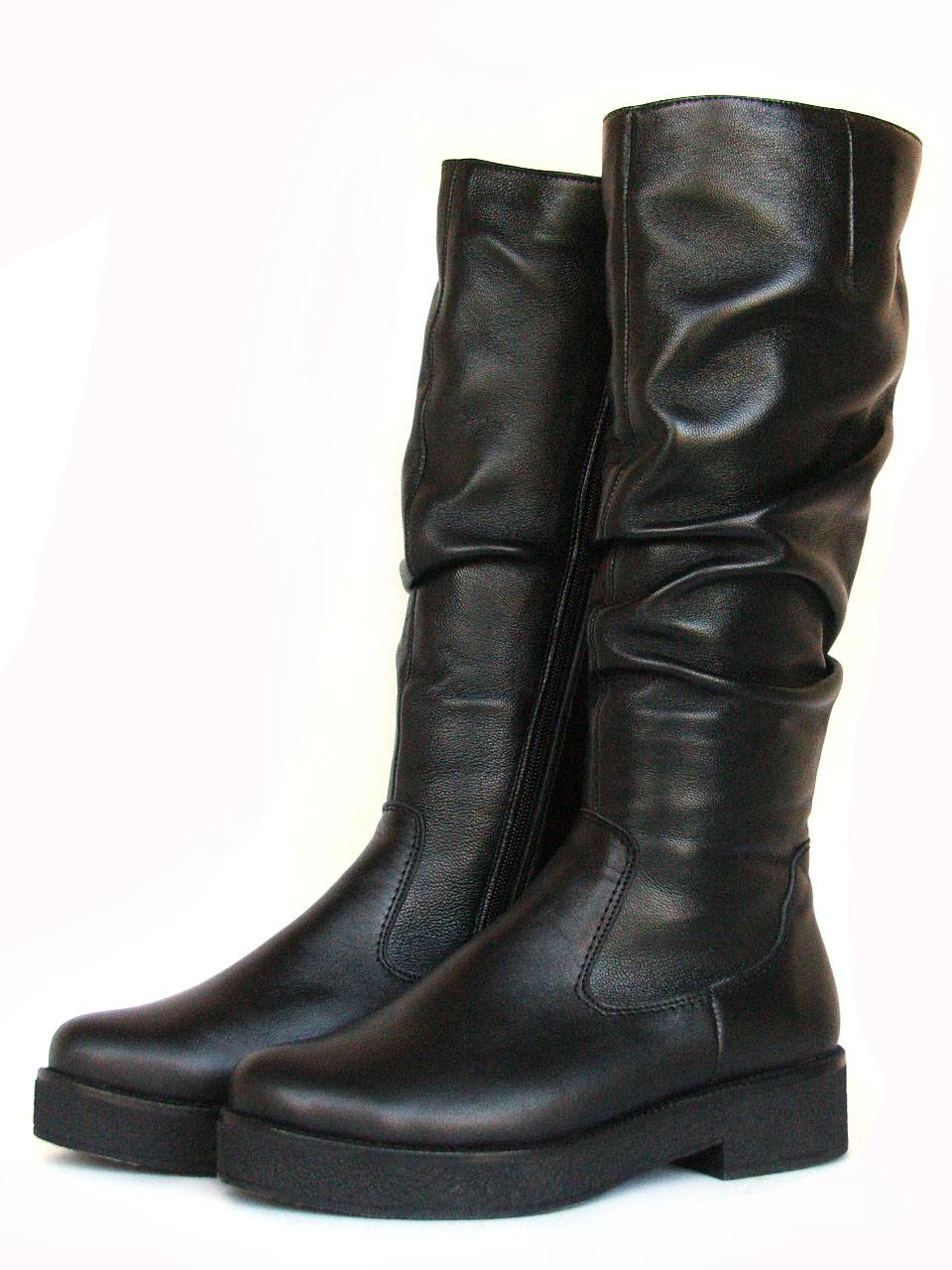 Сапоги зимние черные кожаные