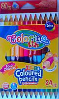 Карандаши Цветные 12 шт. 24 цв. Jumbo 51880PTR Colorino Польша