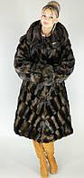 Длинная искусственная шуба большого размера коричневая норка  М-107  48-62 размеры