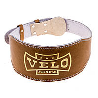 Пояс штангиста широкий коричневый VELO Lackered VLS-12034