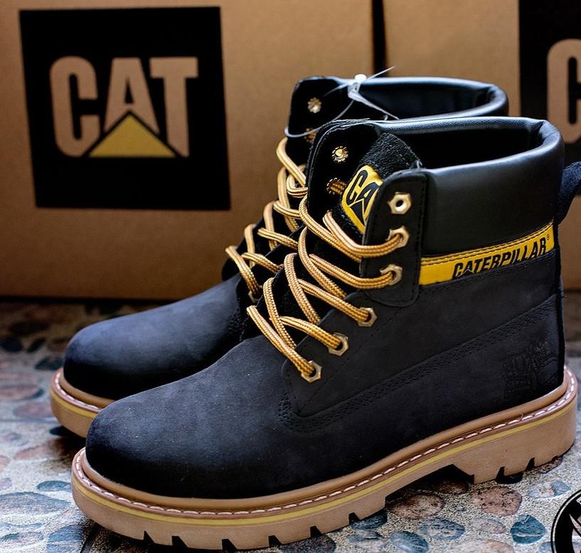 Ботинки женские Caterpillar CAT высокие черные топ реплика