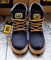 Ботинки женские Caterpillar CAT высокие черные топ реплика, фото 2