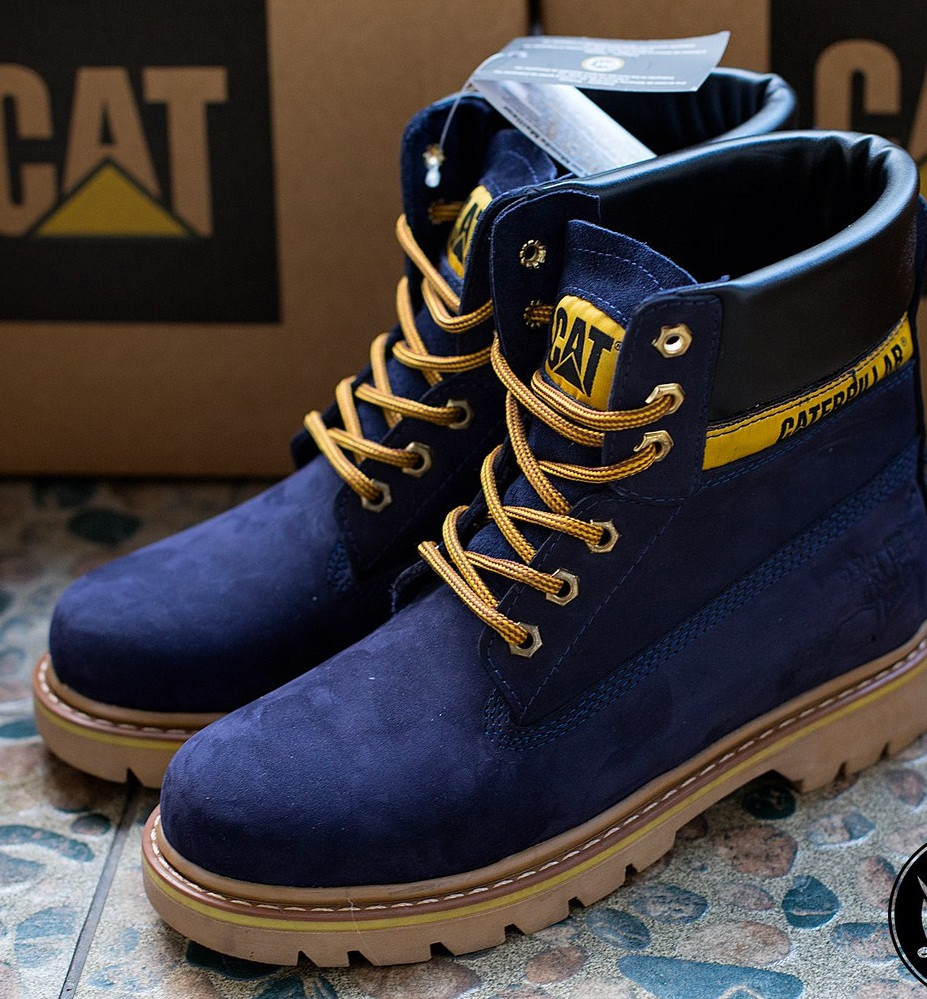 86ba181de Мужские ботинки Caterpillar CAT высокие темно-синие топ реплика -  Интернет-магазин обуви и