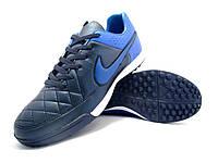 Футбольные сороконожки Nike Tiempo Genio TF Black/Blue/White, фото 1