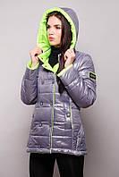 Куртка женская двухцветная на синтепоне осень-весна SY - 04 ( цвет металлик/салатовый )