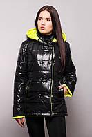 Куртка женская двухцветная на синтепоне осень-весна SY - 04 ( цвет черный/лимонный )